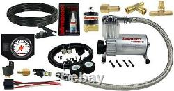 Air Helper Spring Load Level Kit withWhite Gauge For 2001-2010 Chevy 3500 Truck