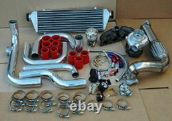 B16 B18 BOLT-ON TURBO KIT with. 63 AR T3 T4 TURBOCHARGER FOR 92-00 HONDA CIVIC RED