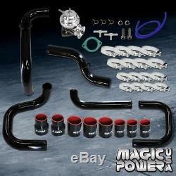 Black Intercooler Piping+ Chrome RS BOV+ Black Coupler Kit for 1994-2001 Integra