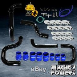 Black Intercooler Piping + Gold RS BOV + Blue Couplers Kit for 1994-2001 Integra