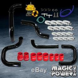 Black Intercooler Piping + Gold RS BOV + Red Couplers Kit for 1992-1995 Civic