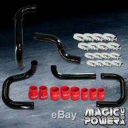 Black Intercooler Piping Red Couplers S/RS BOV Flange Kit for 1992-1995 Civic