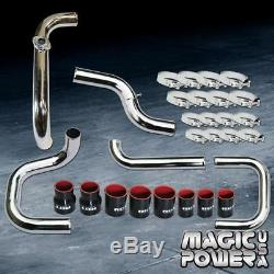 Chrome Intercooler Piping Black Couplers S/RS BOV Flange Kit for 1996-2000 Civic