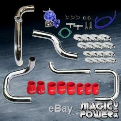 Chrome Intercooler Piping + Blue RS BOV + Red Couplers Kit for 1996-2000 Civic