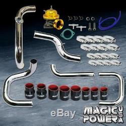 Chrome Intercooler Piping + Gold RS BOV +Black Coupler Kit for 1994-2001 Integra