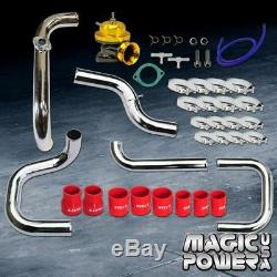 Chrome Intercooler Piping + Gold RS BOV + Red Couplers Kit for 1996-2000 Civic