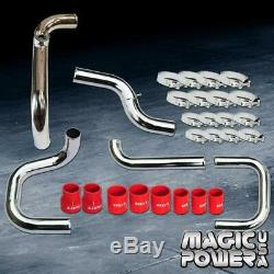 Chrome Intercooler Piping Red Couplers SSQV BOV Flange Kit for 1992-1995 Civic