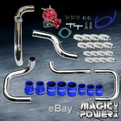 Chrome Intercooler Piping + Red RS BOV + Blue Couplers Kit for 1992-1995 Civic