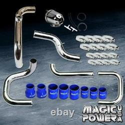 Chrome Intercooler Piping + SQV/SSQV BOV + Blue Couplers for 1992-1995 Civic