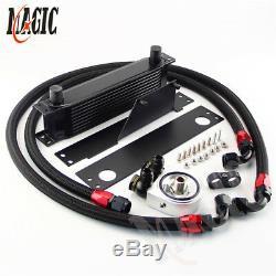 For 01-05 Subaru Impreza WRX/STi AN10 10 Row Bolt On Black Oil Cooler Kit