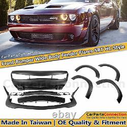 For 15-20 Challenger HC Style Front Bumper Widebody Fender Flares Amber Markers