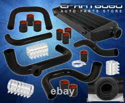 For 96-00 Civic Ek Black Fmic Intercooler + Bolt On Piping Kit Couplers T-Clamps