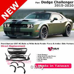 For Challenger 15-20 HC Style Front Bumper Cover Widebody Fender Flares Hellcat