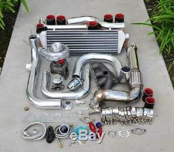 For Civic B16/18 Bolt-On Turbo Kit Polish Intercooler Pipe SQV bov Black coupler