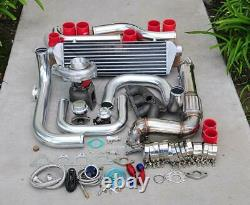 For Civic B16/18 Bolt-On Turbo Kit Polished Intercooler Pipe RS bov Red coupler