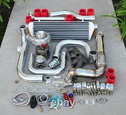 For Civic B16 B18 Bolt-On Turbo Kit Polish Intercooler Pipe SQV bov Red coupler