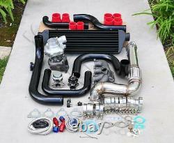For Civic D15 D16 Bolt-On Turbo Kit Black Intercooler Pipe RS bov Red coupler