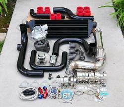 For Civic D15 D16 Bolt-On Turbo Kit Black Intercooler Pipe SQV bov Red coupler