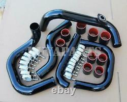 For Honda Civic 92-00 Integra 94-01 Bolt-On Black FMIC Piping Kit Black Couplers