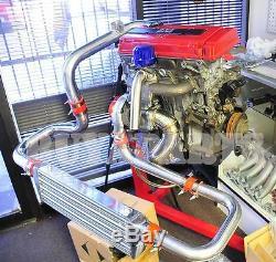For Honda Civic 92-00 Integra 94-01 Bolt-On Chrome FMIC Piping Kit Red Couplers
