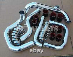 For Honda Civic 92-00 Integra 94-01 Bolt-On Chrome S/RS Piping Kit BK/RD Coupler
