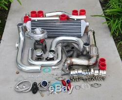 For Integra B18 Bolt-On Turbo Kit Polished Intercooler Pipe RS bov Red coupler