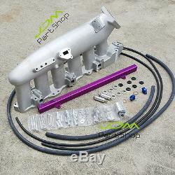 For Nissan RB25 RB25DET GTS R32 R33 Plenum Intake Manifold+Fuel Rail Purple Kit