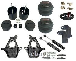 Front Air Ride Kit Bolt On Bags Drop Spindle Shock Relocator For 99-06 Silverado