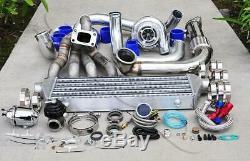 GT3076 Top Mount Turbo Kit Chrome Piping Blue Coupler SQV Bov for B18B B20B