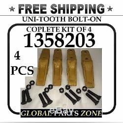 KIT OF 4 UNI-TOOTH BOLT-ON for Caterpillar 1358203 6Y6335 9W1879 FREE SHIPPING