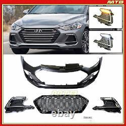 LED DRLs Sport Style Front Bumper Cover Kit For 2011-2016 Hyundai Elantra Sedan