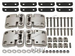 Land Rover Defender Front Doors Stainless Steel Hinges & Brackets Kit Da1951