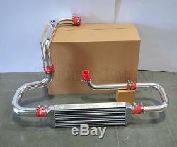 RDT Chrome Intercooler Piping S/RS Flange Red Coupler kit for 92-00 Honda Civic