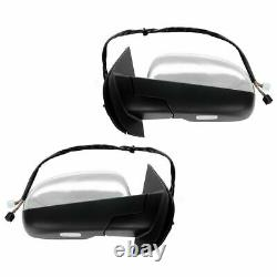 TRQ Mirror Power Folding Heated Memory Puddle Signal Chrome Pair for GM Truck