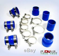 Turbo Intercooler Polish Piping Kit Blue Coupler For 02-07 Impreza Wrx Sti GC8