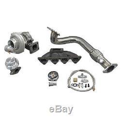 Turbo Manifold Downpipe Kit For 96-00 Civic EK B16 B18 Keeps AC PS Bolt On Fit