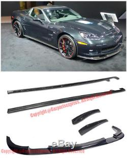 ZR1 Package Carbon Fiber Side Skirts With Front Lip Kit For 05-13 Corvette C6 Z06